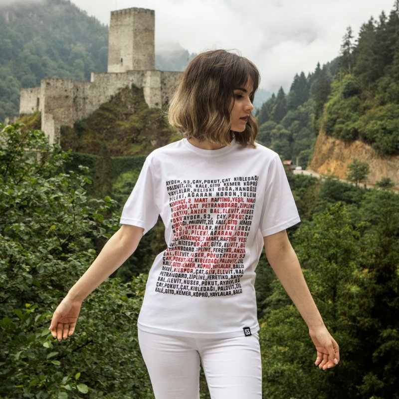Yaylalar 53 Baskılı Bisiklet Yaka Beyaz T-Shirt Unisex