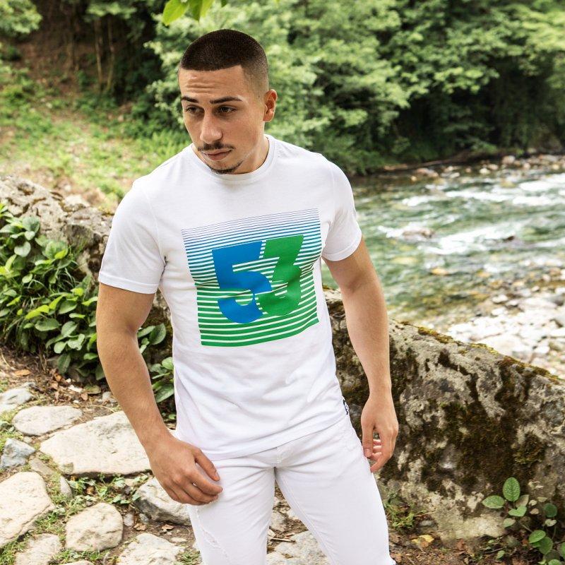53 Çizgim Baskılı Bisiklet Yaka Beyaz T-Shirt